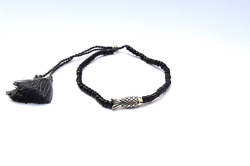 SMALL SILVER FISH FRIENDSHIP BRACELET WITH ADJUSTABLE STRING W TASSEL