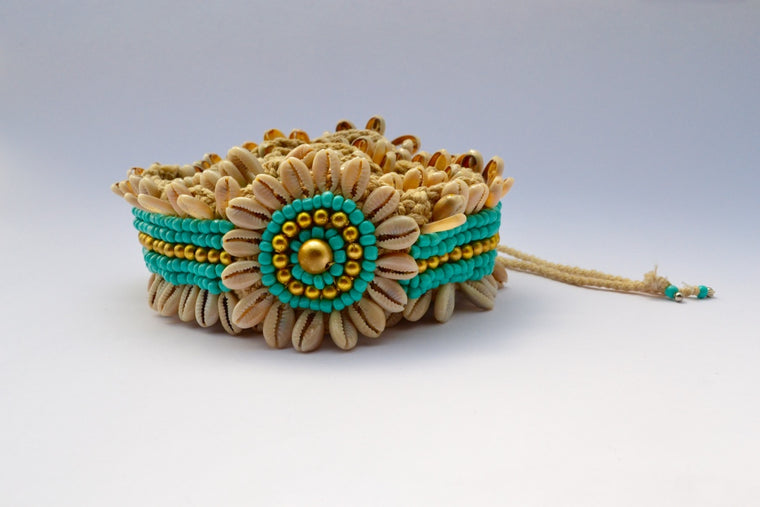 V STITCH CROCHET BELT W TURQUOISE GOLD BEADS & SHELLS W STRING