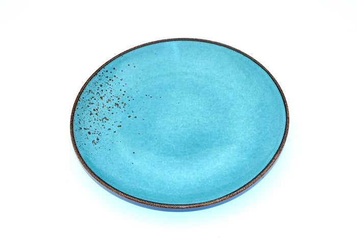 CHANTAL GOLD SPATTERED SALAD PLATE TURQUOISE