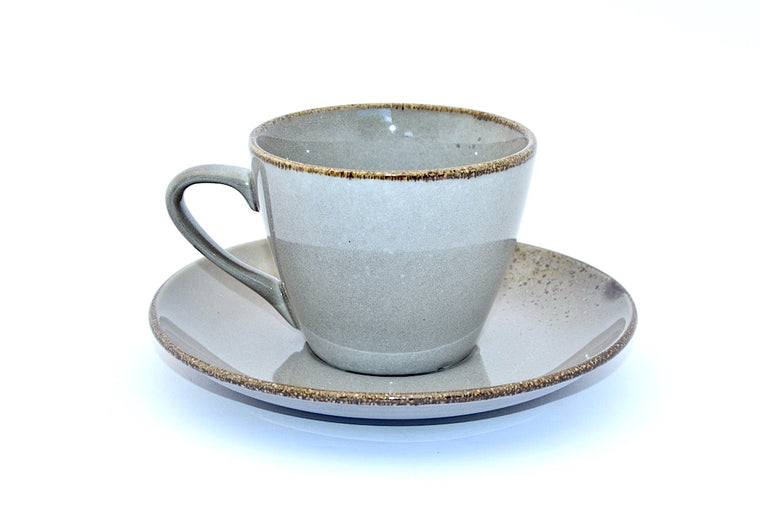 CHANTRICE GOLD SPLATTERED TEA CUP & SAUCER GREY