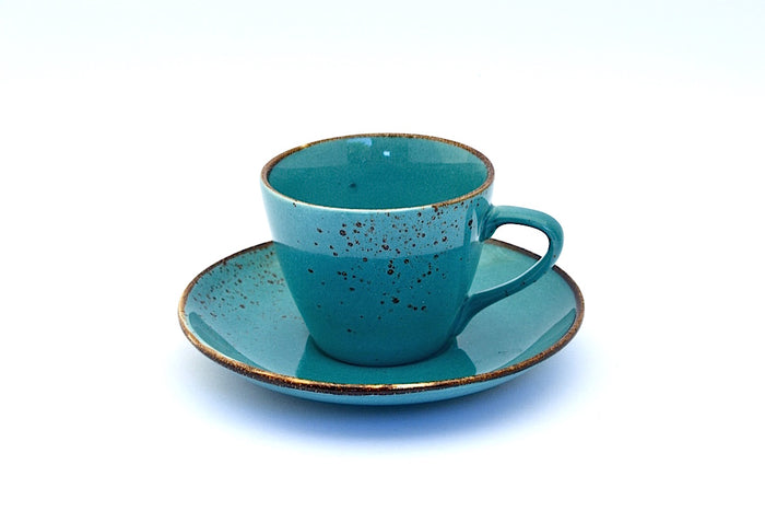 CHANTRICE GOLD SPLATTERED TEA CUP & SAUCER TURQUOISE