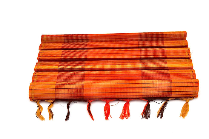 SUNSET ORANGE BAMBOO PLACEMATS W BANGS