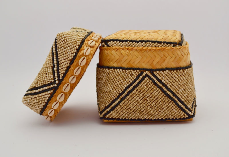 BEADED BOX LARGE & MEDIUM & SMALL BROWN BASKET SET X PATTERN CREAM & BLACK 15
