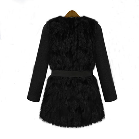 2017 Winter Women Coat Tunic Thick Faux Fur Coats Long Sleeve Belted Outwear Casual Black Patchwork Leather Jacket