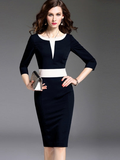 3/4 Sleeve Pencil Color Block Formal Women's Sheath Dress