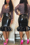 Package Hip Fishtail Leather Skirt