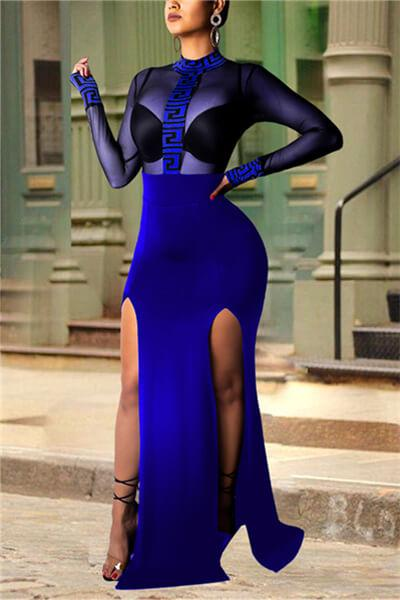 Mesh Perspective Split Evening Dress