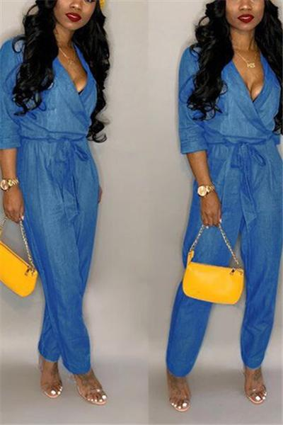 Solid Color Denim Sexy V-Neck Jumpsuit