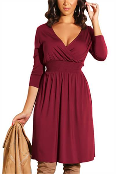 Fashion V-Neck Waist Dress