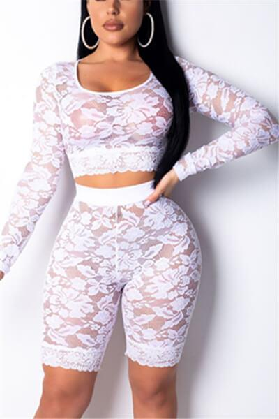Trendy See-through Lace Two-piece Shorts Set
