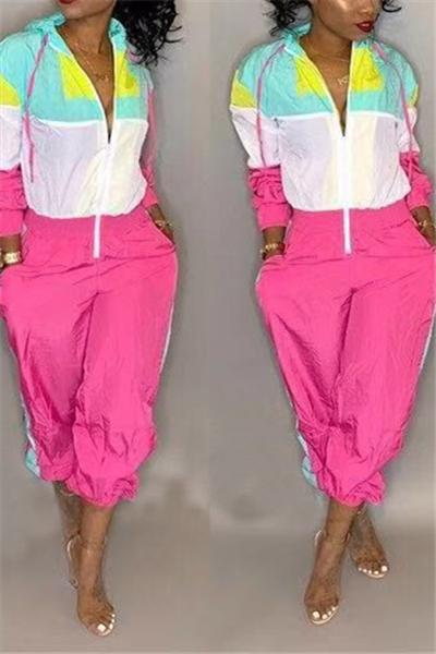 Casual Hit Color Hooded Jumpsuit
