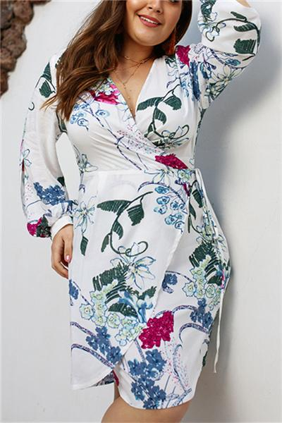 Fashion Vintage V-Neck Pencil Plus Size Dress