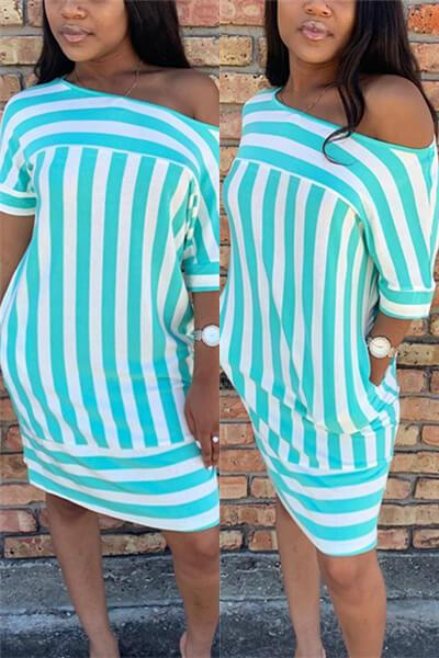 Striped Print Stitching Dress