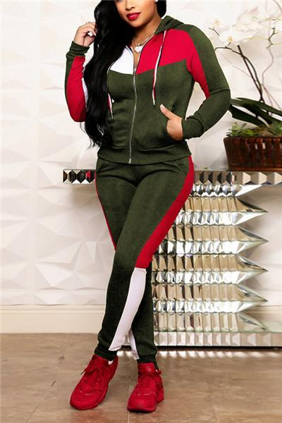 Striped Stitching Long Sleeve Sports Suit