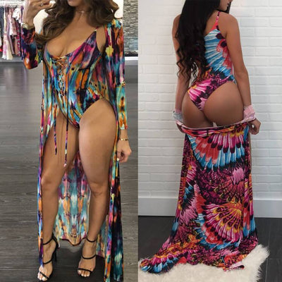 Floral Tie Swimsuit and Cover Up Set