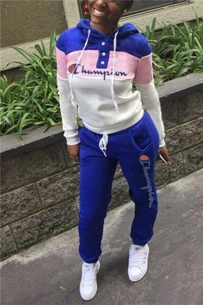 Letter Embroidery Stitching Hooded Long Sleeve Suit
