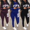 Drawstring Letter Printed Sweatshirt Set