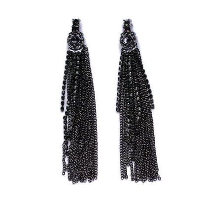 Crystal stud Tassel Earrings
