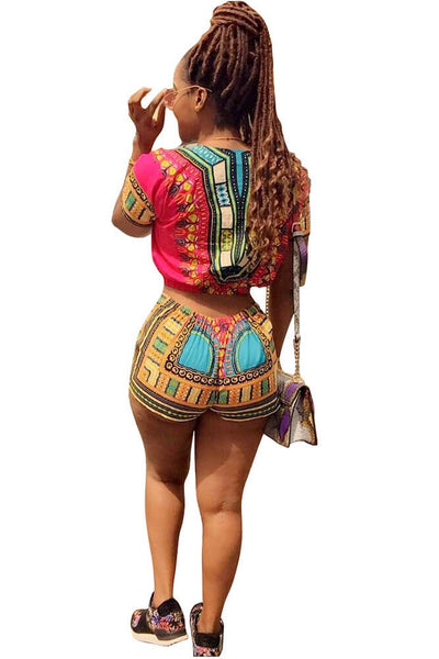 Ethnic Dashiki  Short Sleeve Crop Top+Short Pants