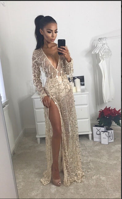 Long Sleeve Sequined Plain Gown Beachwear