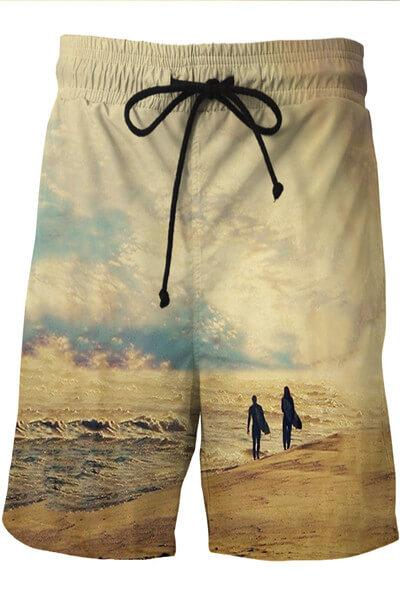 Beach Wave Printed Swim Trunks