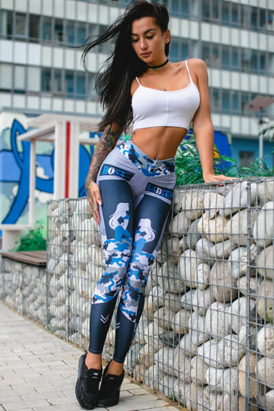 Camouflage Dot Impression Patchwork Fitness Leggings