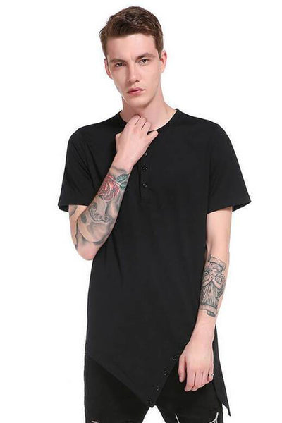 Black Button Bifurcated Hem Design T-shirt
