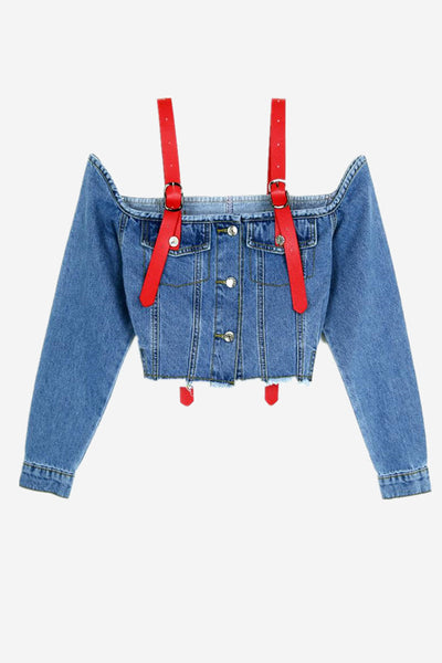 Cold Shoulder Crop Denim Jacket