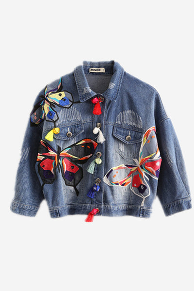 Butterfly Embroidery Crop Denim Jacket