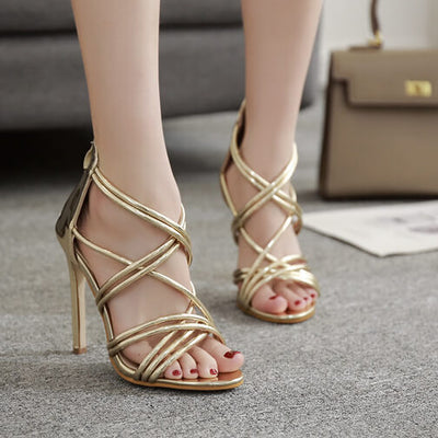 9d0cfe93a Women's Thin Strap Gladiator Pumps High Heels Sandals - ICONHUNT