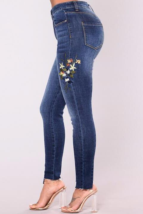 High Waist Embroidered  Skinny Jeans
