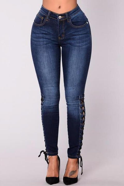 Lace Up Dark Skinny Jeans