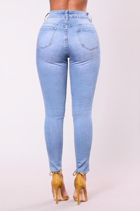 Light Blue Wash Embroidered Skinny Jeans
