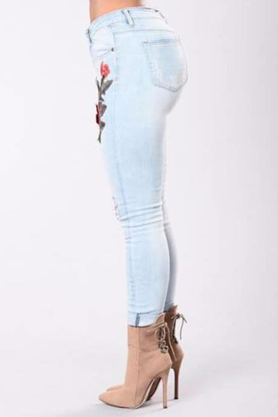 Embroidered Rip Skinny Jeans