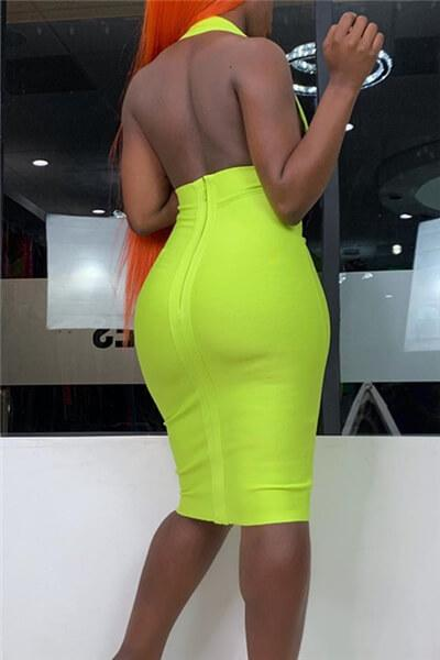 Open Back Fashion Halter Dress
