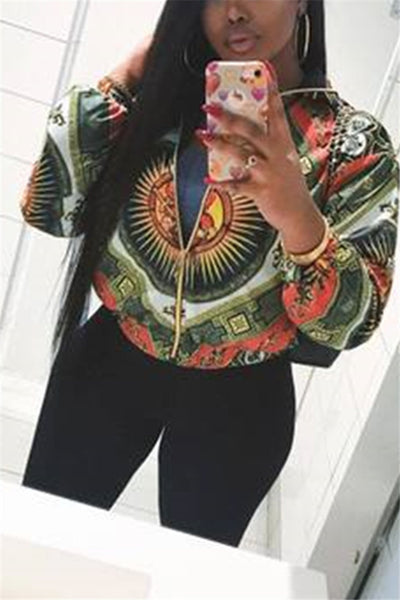 Printed Long Sleeve Jacket