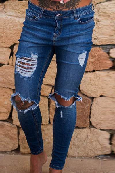4 Color Skinny Stretch Ripped Jeans