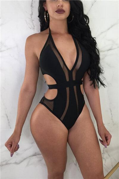 f140403b0482 Sexy bandage stitching mesh deep V one-piece swimsuit - ICONHUNT