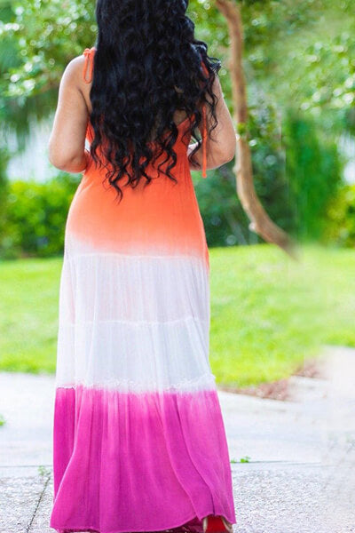 Three-tone Spaghetti Strap Maxi Dress