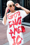 Red & White God Save America Printed T-Shirt