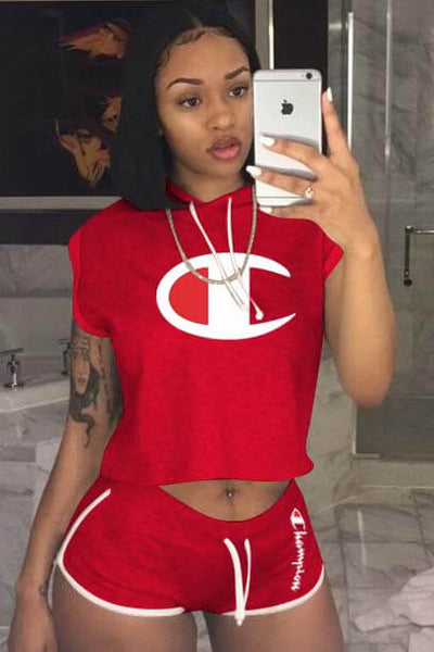 Champion Letter Print Sports Shorts Jumpsuit