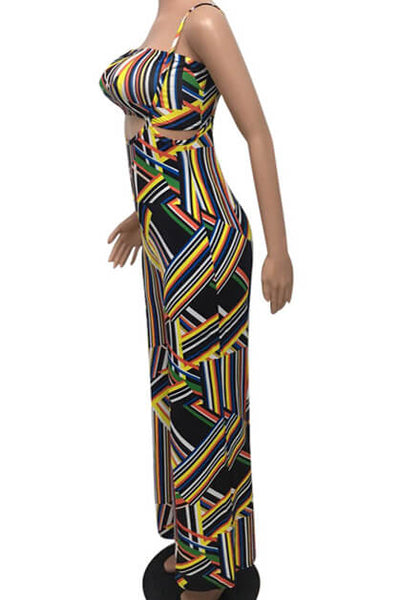 Color Striped Strap Printed Jumpsuit