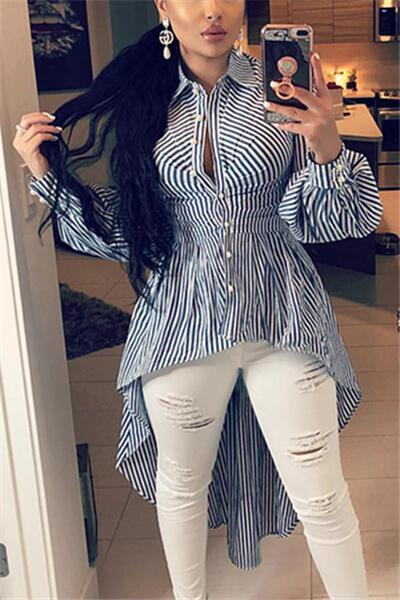 Striped Length Short Irregular Shirt Dress