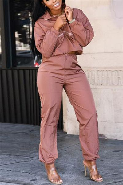Casual Solid Color Long Sleeve Two-Piece Suit