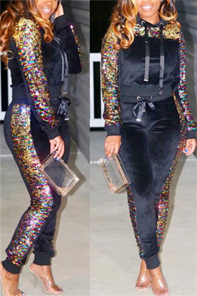 Casual Sequined Hoodie Trousers Suit