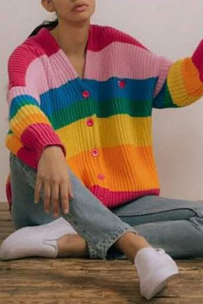 Back Letter Print Rainbow Color Block Sweater Cardigan