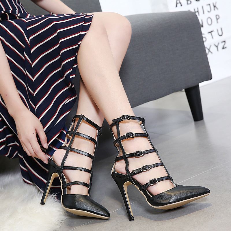 aaa9af12833b Iconhunt Bandage hollow pointed high-heeled shoes