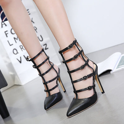 Iconhunt Bandage hollow pointed high-heeled shoes