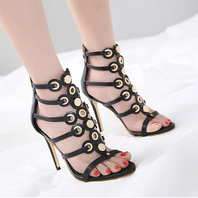 Bandage hollow pointed high-heeled shoes