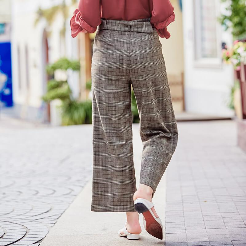 Belted Check Wide Leg Pants
